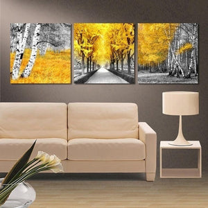3 Piece Yellow Woods Trees Leaves Street Tree Lined Road Wall Art Canvas Panel P : cheap canvas prints wall paintings pictures