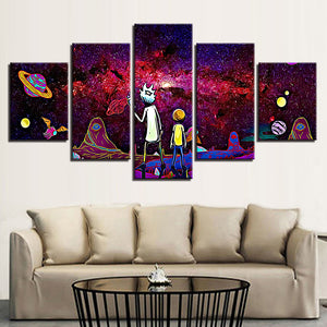 5 Pieces Rick And Morty Poster HD Prints Universe Planet Abstract Picture