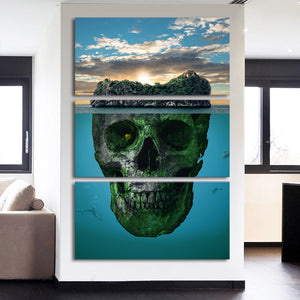 Skull Mountain Island Wall Art Canvas Panel Picture Poster Print Framed UNframed : cheap canvas prints wall paintings pictures