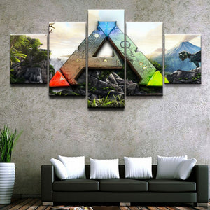 5 Pieces Ark Survival Evolved Logo Paintings Home Decorative Wall Art Print