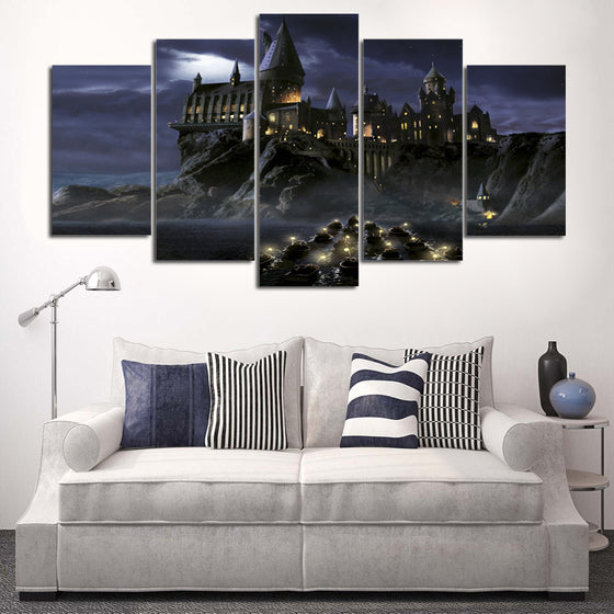 5 Panel Movie Harry Potter Castle Modular Wall Art Canvas Panel Picture Room
