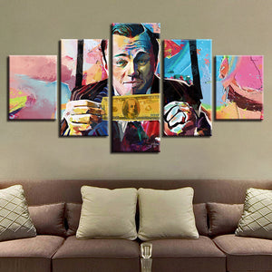 5 Pieces Graffiti U S Dollar Money Paintings Abstract Pictures Living Room Decor Framed