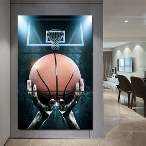 3 Piece Canvas Art Basketball Shot Canvas Panel Wall Art Picture Print Cuadros : cheap canvas prints wall paintings pictures