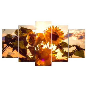 5 pcs panel canvas art print HD Sunflower Flowers Sun Sky Wall Art Panel Picture