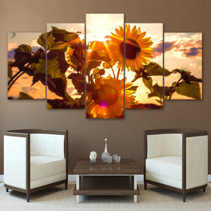 5 pcs panel canvas art print HD Sunflower Flowers Sun Sky Wall Art Panel Picture : cheap canvas prints wall paintings pictures