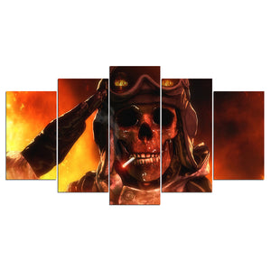 5 Piece Canvas Art Fire Flames Smoking Army Skull Poster Wall Picture Poster - ASH Wall Decor - Wall Art Canvas Panel Print Painting