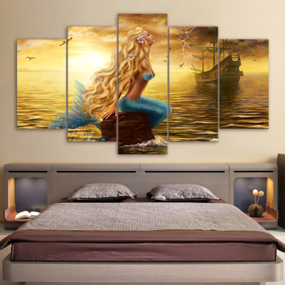 dce59ccc157 Mermaid Boat Ship on Golden Sea Poster 5 Panel Canvas Art Print Wall Art    cheap