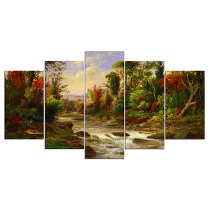 5 panel landscape wall art on canvas Forest Trees River Creek picture painting : cheap canvas prints wall paintings pictures