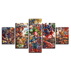 5 Panels Super Hero Art Framework Wall For Living Room