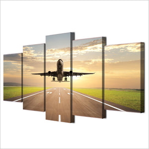 5 piece canvas art print taking off plane jet aircraft canvas painting wall : cheap canvas prints wall paintings pictures