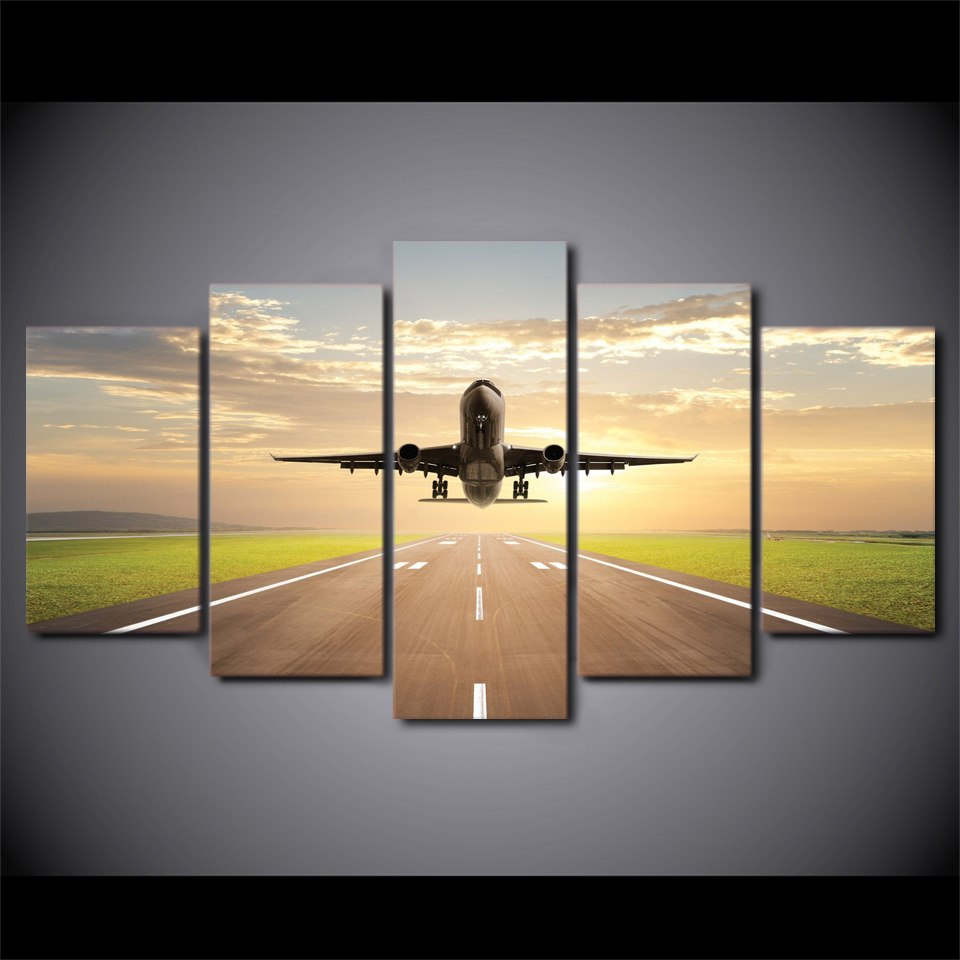 5 piece canvas art print taking off plane jet aircraft canvas ...