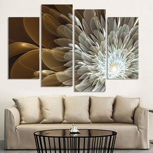 4 Pieces Wealth And Luxury Golden Flowers Floral Canvas Wall Art Picture Print - ASH Wall Decor - Wall Art Canvas Panel Print Painting