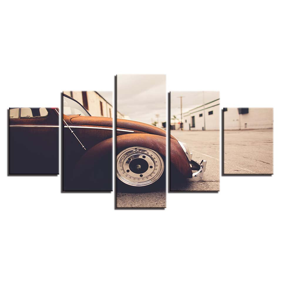5 Panel Piece Volkswagen VW Beetle Bug Vintage Rod Wall Art Canvas Print Picture