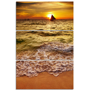 3 Piece/Pcs Golden Sea Wave Beach at Sunset with Boat Wall Art Panel Canvas Print Picture - ASH Wall Decor - Wall Art Canvas Panel Print Painting