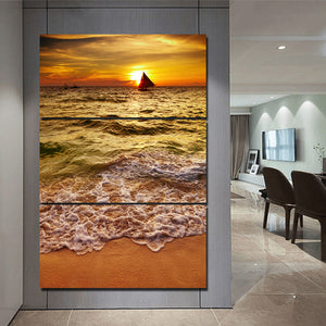 3 Piece/Pcs Gulf Ocean Sea Wave Beach at Sunset  Boat Wall Art Panel Canvas : cheap canvas prints wall paintings pictures