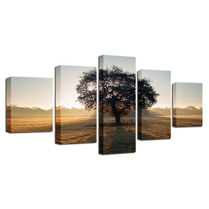 Wall Art Modern Prints 5 Piece Tree Sunshine Poster Modular Picture Panel Print : cheap canvas prints wall paintings pictures