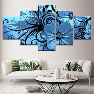 Purple Blue Floral Flower Orchid 5 Panel Wall Art Canvas Panel Print Decor - ASH Wall Decor - Wall Art Canvas Panel Print Painting