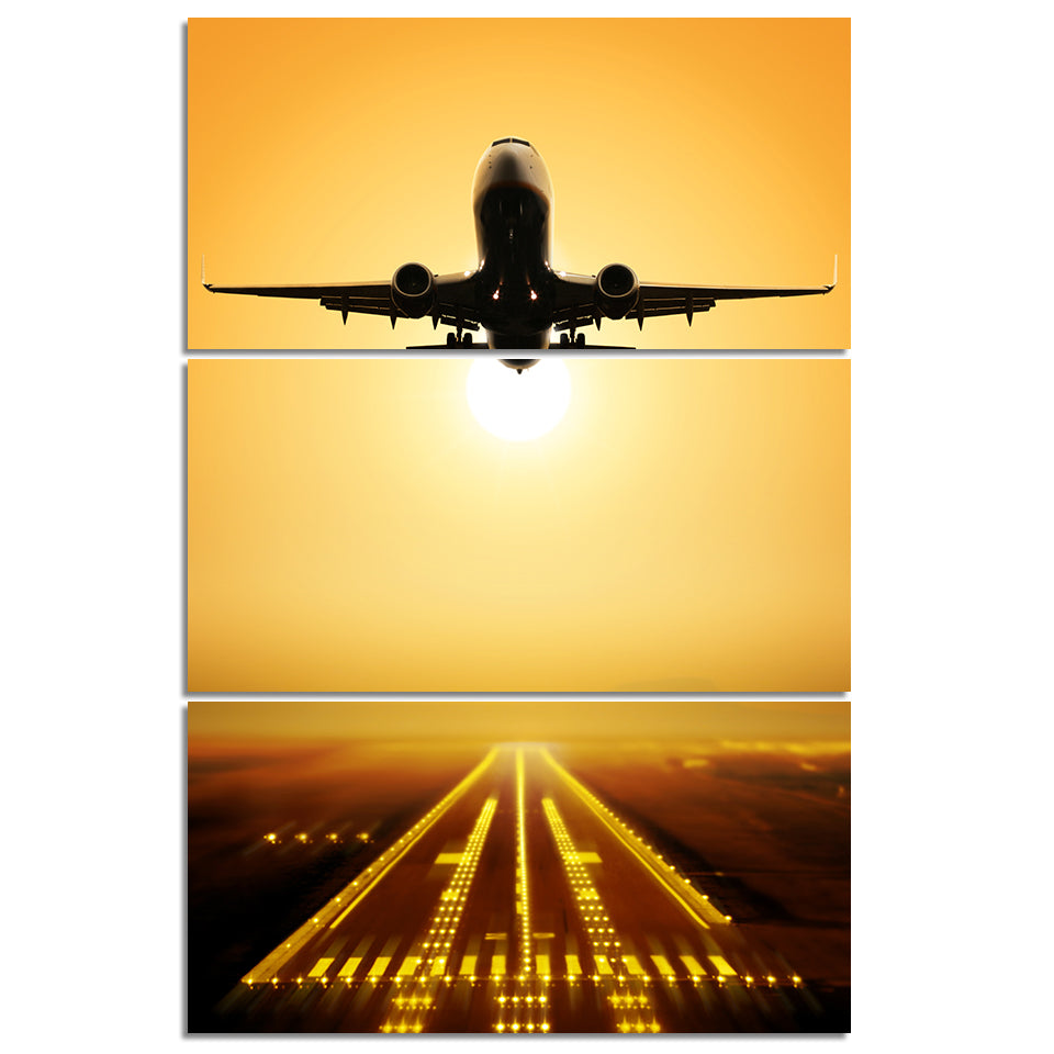 3 Piece Panel Wall Art Jet Airplane taking off at Sunset Panel ...