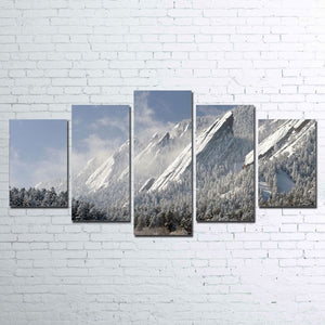 5 Pieces Flatirons Snow Mountain Mountains Wall Art Canvas Panel Print Picture : cheap canvas prints wall paintings pictures