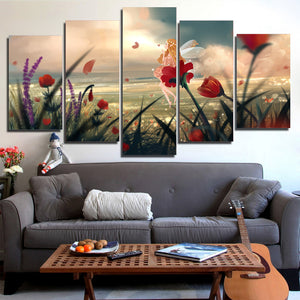 5 panel wall art on canvas floral flower on beach ocean sea water landscape panel print picture - ASH Wall Decor - Wall Art Canvas Panel Print Painting