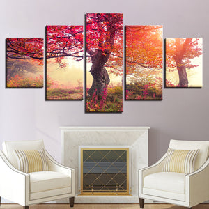 Red Forest Sunshine Scenery Paintings Frame Decor Living Room Wall Art 5 Panel : cheap canvas prints wall paintings pictures