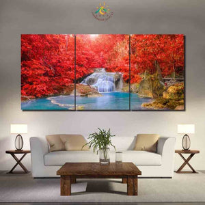 Waterfall Water Pond Red Tree Landscape Living Room Modular Wall Art 5 Panel : cheap canvas prints wall paintings pictures
