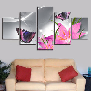 Pink Lilies Flowers And Butterfly Butterflies Wall Art 5 Panel Pieces Picture Print - ASH Wall Decor - Wall Art Canvas Panel Print Painting