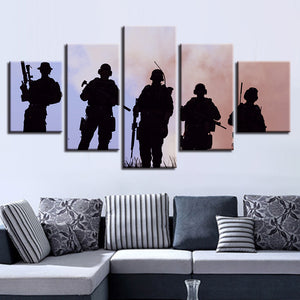 Army Military Soldiers Memorial Silhouette Wall Art 5 Panel Pieces Picture Print - ASH Wall Decor - Wall Art Canvas Panel Print Painting