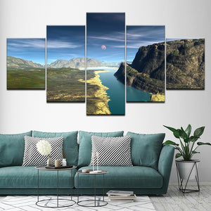 5 Pieces Snow Mountains Rivers Natural Landscape Paintings Decor Frame Wall Art : cheap canvas prints wall paintings pictures