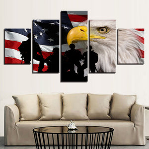 US American Flag Eagle Silhouette Soldiers Soldier Military Canvas Wall Art