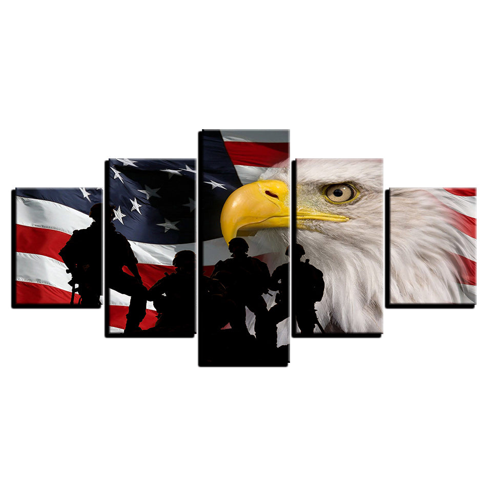 Us American Flag Eagle Silhouette Soldiers Soldier Military Canvas