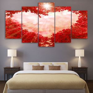 5 LOVE Panel Canvas Wall Art Picture Poster Print Pink Heart Red Maple Forest : cheap canvas prints wall paintings pictures