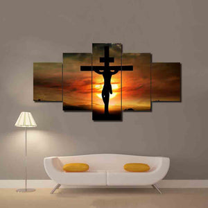 Jesus Christ Cross God Sunset Scene Religion Wall Print 5 Panel Picture Print : cheap canvas prints wall paintings pictures