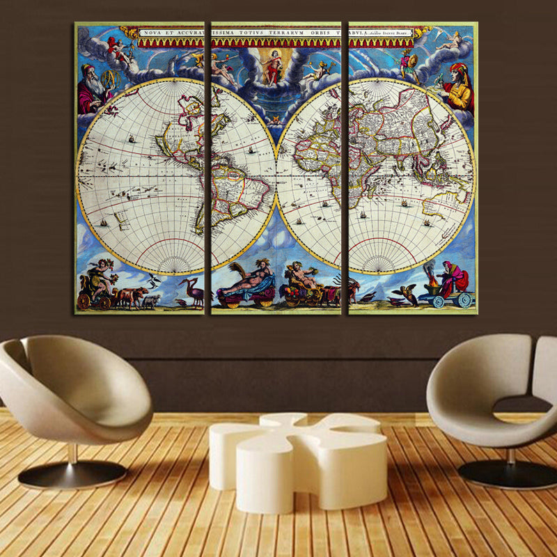 Piece World Map Home Wall Decor Canvas Picture Art Print On Canvas - 3 piece world map wall art