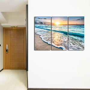 IN STOCK - 3 Panel Ocean Gulf Wave Beach Sunset Wave Seascape Wall Art