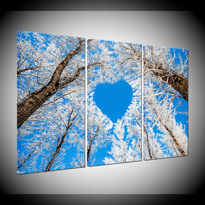 3 Panel Love Heart Shaped Branches Snow Tree Home Decor Bed Room Wall Art : cheap canvas prints wall paintings pictures
