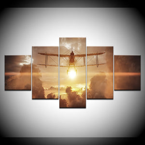 5 Panel Biplane Airplane Flying at Sunset Clouds Wall Art Canvas Panel Print : cheap canvas prints wall paintings pictures