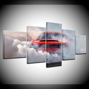 RedLine Red Dodge Challenger Burnout 5 Pcs Panel Wall Art Canvas Panel Print : cheap canvas prints wall paintings pictures