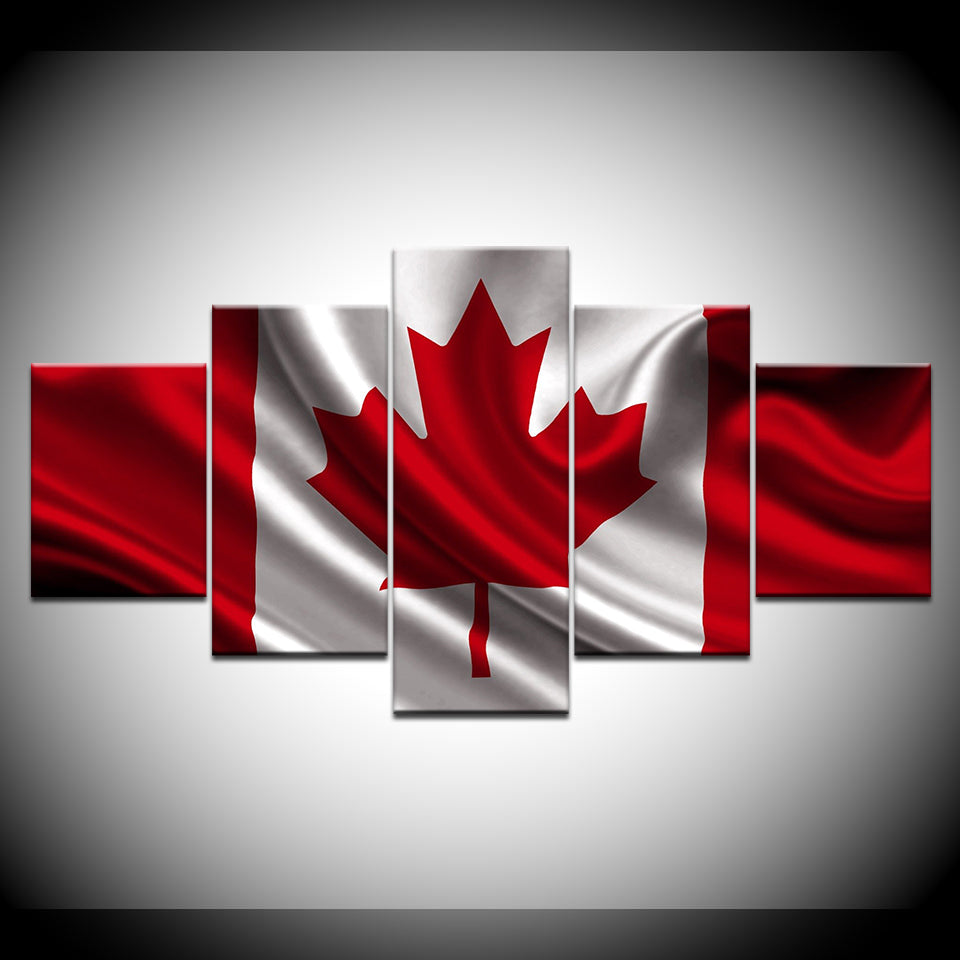 Canada Canadian Flag Red White Maple Leaf 5 Panel Pcs Wall Art