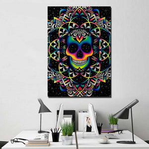 Colorful Skull - Chaos By Brizbazaar 1 piece panel wall art canvas panel print : cheap canvas prints wall paintings pictures