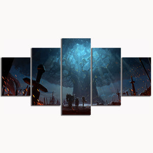 5 Piece World of Warcraft Decor Painting Battle for Azeroth Approach To Teldrass
