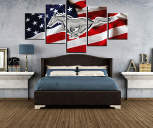 5 Panel Wall Art Ford Mustang Emblem GT Car Emblem Car US Flag Canvas Print : cheap canvas prints wall paintings pictures