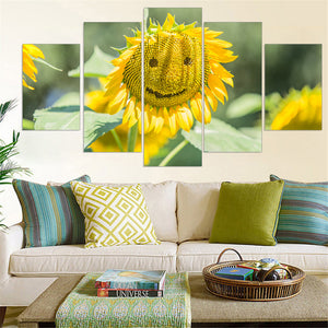 Smile Smiling Sunflower Face Flower Modular  Face Canvas Print Poster Wall
