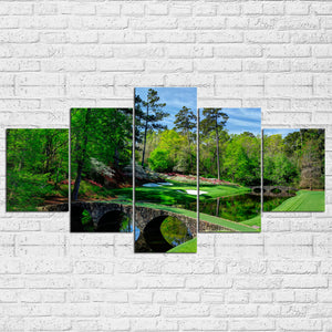 Augusta Masters Golf Golfing Course Hole Water 5 Pcs Pieces Panel Wall Art : cheap canvas prints wall paintings pictures