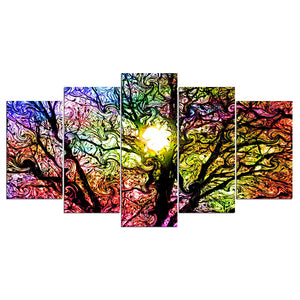5 piece canvas pop art Colorful Sun Tree modern modular wall art : cheap canvas prints wall paintings pictures