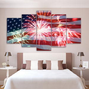 July 4th Fourth American Flag And Fireworks 5 Panel Pieces Canvas Abstract Paint