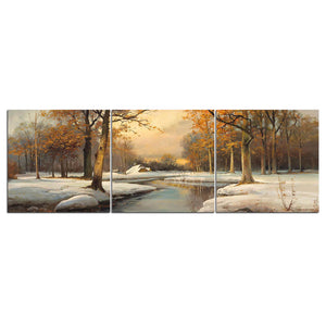 Winter Creek Snow Scene 3 Pcs Panel Picture Canvas Panel Print Wall Decor Art : cheap canvas prints wall paintings pictures