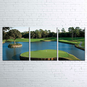 TPC  sawgrass golf golfing course hole 17 3 PIECE CANVAS FOR LIVING ROOM : cheap canvas prints wall paintings pictures