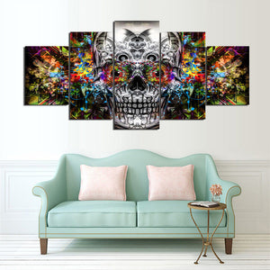 Colorful Evil Vibrant Skull Paintings Modular HD Prints Abstract Poster Wall Art