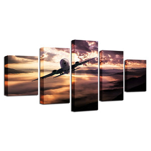 5 Pieces Aircraft Jet at  Sunset Scenery Paintings Modular Pictures Wall Art : cheap canvas prints wall paintings pictures